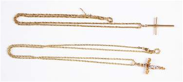 Two 14K gold necklaces and a cross pendant etc