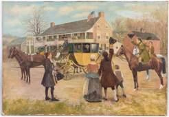 Winfield Lukens oil on canvas Washington's return