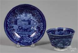 Historical blue Staffordshire cup and saucer