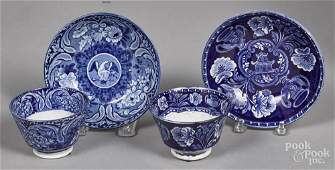 Two Historical blue Staffordshire cups and saucer