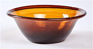Free blown amber glass bowl