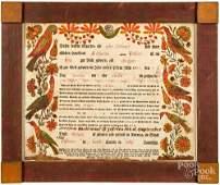 Johann Heinrich Otto fraktur birth certificate