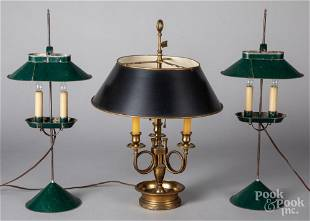 Pair of painted tin bouillotte lamps, etc.