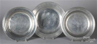 Pair of English pewter deep dishes, etc.