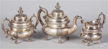 New York coin silver threepiece tea service