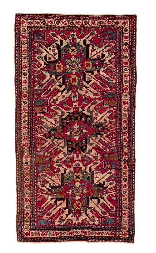 6: Eagle Kazak throw rug, ca. 1900, with three med