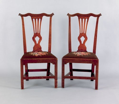 18: Pair of Southern Chippendale mahogany dining cha