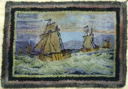 2: Two hooked rugs, early 20th c., to include one in