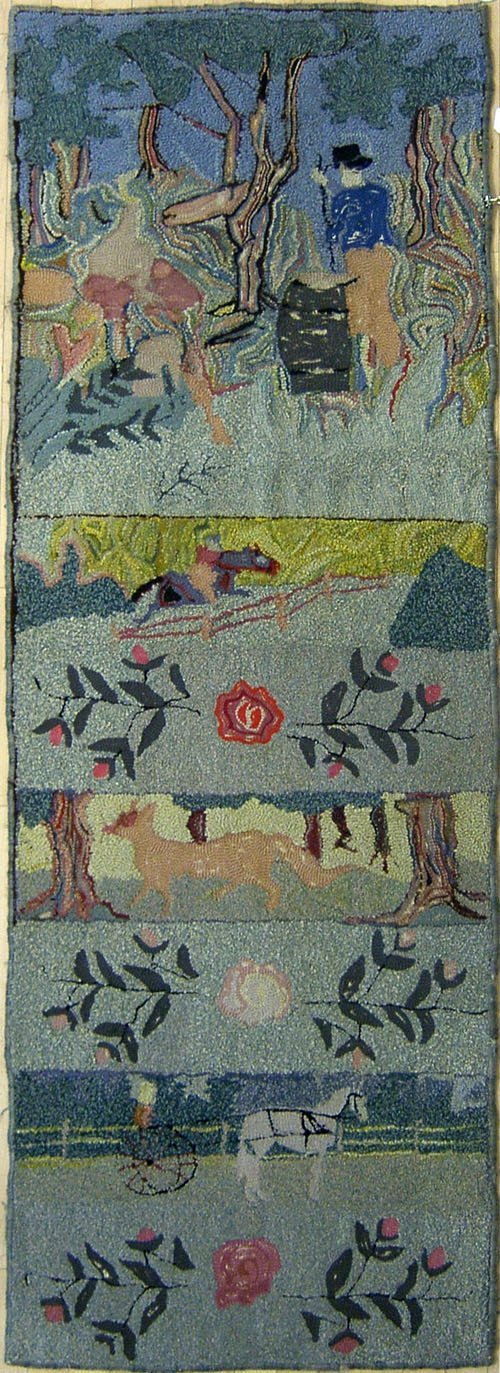 4: Hooked rug with figures and animals, 7' 2'' x 2' 6