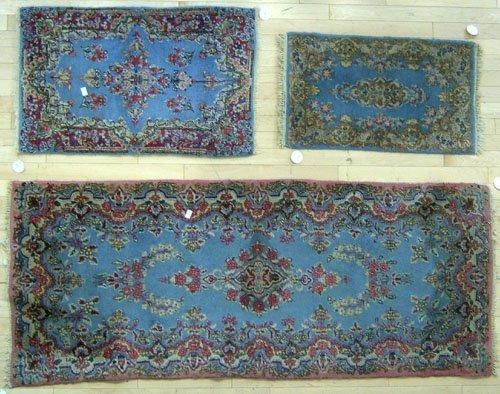 5: Three Kirman mats, 6' x 2' 6'', 3' x 2' and 2' 6''