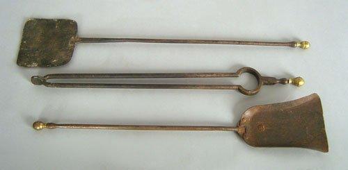 20: Brass and iron three-pc. fireplace set, early 19t