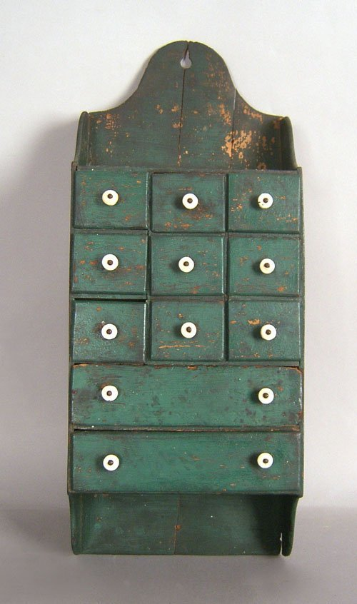 23: Hanging seed cabinet, late 19th c, 24'' h., 10'' w.