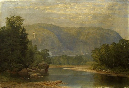402: American oil on canvas landscape, signed C.C. Ba