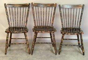501: Set of three Pennsylvania rodback Windsor chairs,