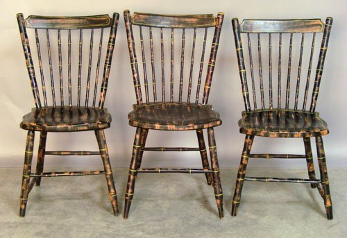 501: Set of three Pennsylvania rodback Windsor chairs,