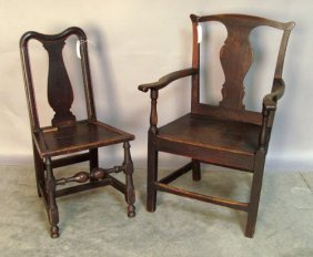 503: Two English Queen Anne oak dining chairs, ca. 173