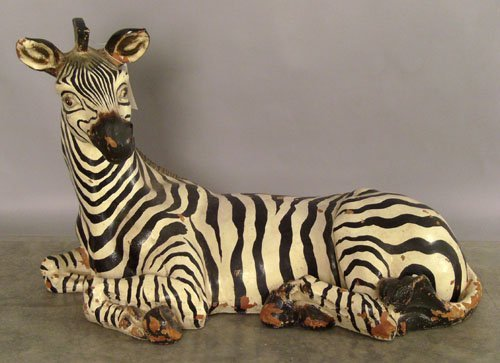 508: Carved and painted zebra, 23'' h., 36'' w.