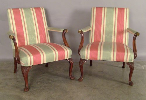 509: Pair of Georgian style open armchairs.