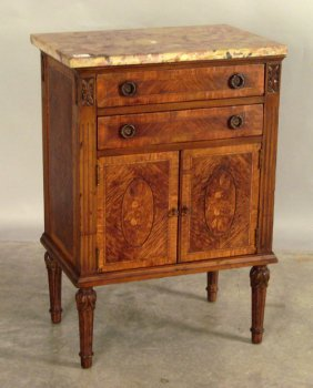 511: Two drawer marble top commode, 32'' h., 21'' w.