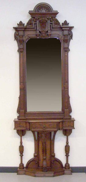 516: Victorian two part assembled wall console, 96'' h.