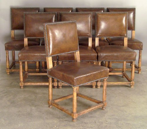 518: Set of eight Jacobean style dining chairs.