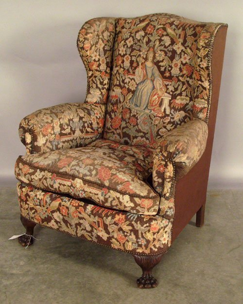 519: Needlework wing chair, late 19th c.
