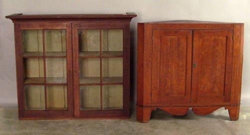 521: Cherry corner cupboard base, 35 1/2'' h., 38'' w.,