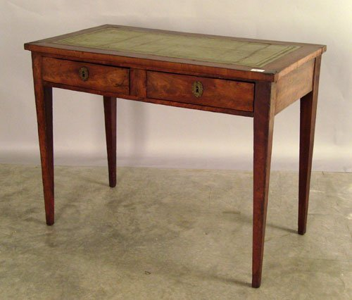 523: English mahogany two drawer desk, early 19th c.,