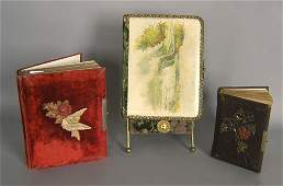 Three Victorian photo albums, together with a sta