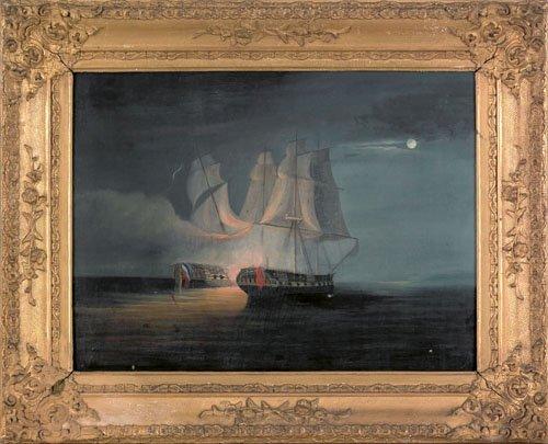 2: Oil on canvas seascape, 19th c., depicting nava