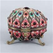 112 Russian silver enamel and cabochon inlaid egg
