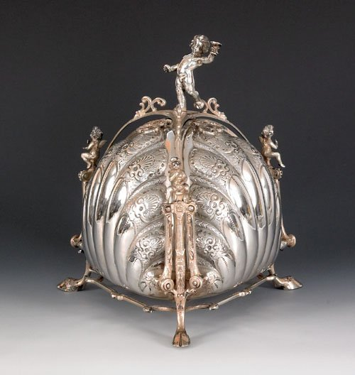 227: German silver biscuit box, late 19th c., with a
