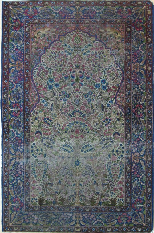 233: Kirman tree of life rug, ca. 1910, 8' x 5'.