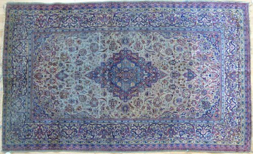244: Silk Persian rug, ca. 1900, with a central meda