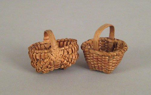 249: Two miniature splint oak baskets, 19th c., to i