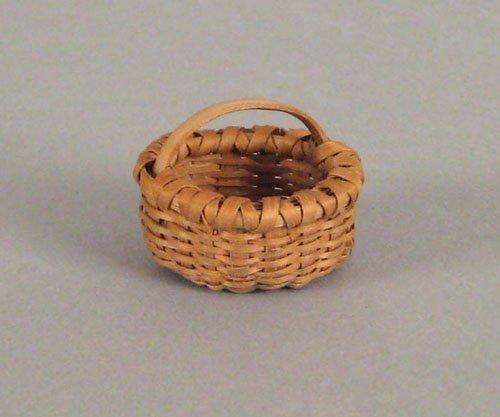 250: Miniature splint oak gathering basket, 19th c.,