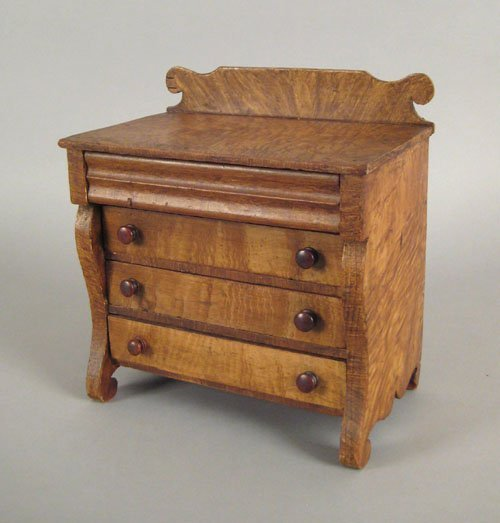 252: Empire painted pine miniature chest of drawers,