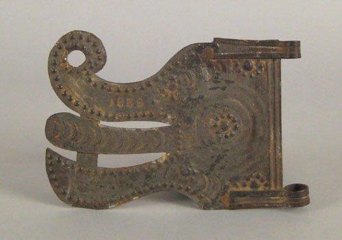 253: Tin dragon head banner vane dated 1839, 5'' x 7''