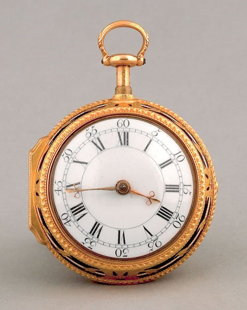 434: English gold and champleve enamel pair case pock