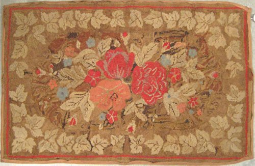 1: Two American hooked rugs, ca. 1900, with floral d
