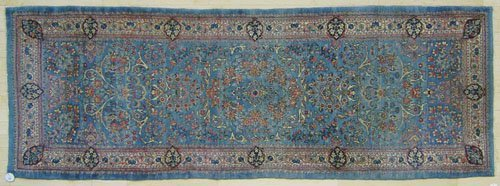 2: Kirman throw rug, ca. 1930, 8' x 2'10''.
