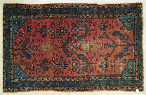 2A: Malayer throw rug, early 20th c., 6'8'' x 4', toge