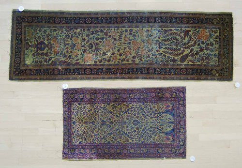 3: Two Isphahan mats, ca. 1900, 6'6'' x 2' and 3'7'' x