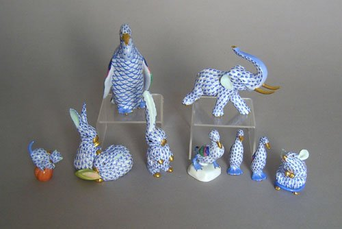 247: Nine Herend animal figures, tallest - 4 3/4'' h.