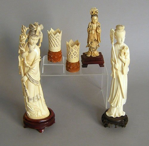 741: Five pieces of Chinese carved ivory, tallest - 10