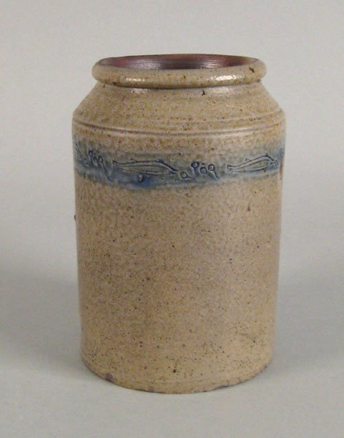 243: Stoneware crock, 19th c. with cobalt band with