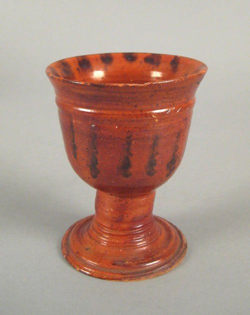 245: Pennsylvania redware goblet, ca. 1860, with man