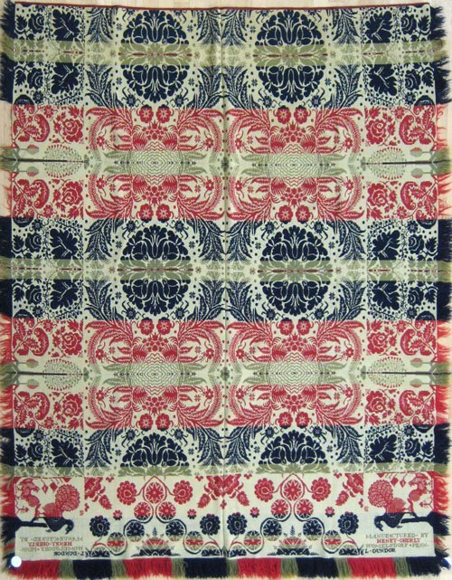 249: Pennsylvania red, blue and green jacquard coverl