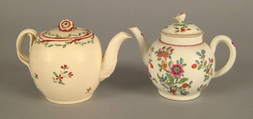 253: Creamware teapot, ca. 1800, spherical with a fl
