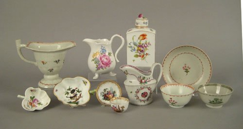 256: A group of porcelain teawares, 19th c., to incl